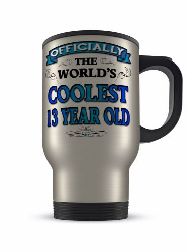 14oz Officially The Worlds Coolest 13-100 Novelty Gift Aluminium Travel Mug - Blue